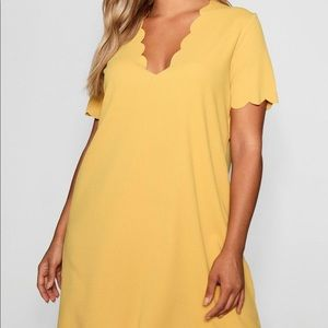 Boohoo Plus Dresses - BooHoo Scallop Edge Shift Dress